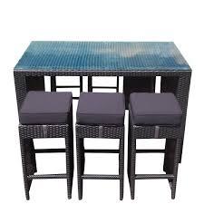 bar table 6 bar stools low back black rattan wicker outdoor furniture