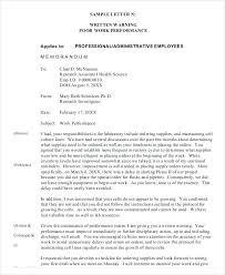 Disciplinary Written Warning Template Employee Letter Model