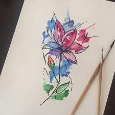 сделать татуировку акварель цветок на бедро 10x20 см в городе