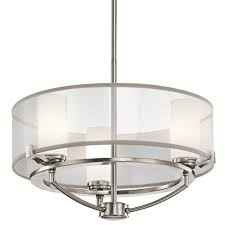 saldana pewter 3 bulb drum pendant with translucent drum shade