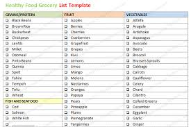 grocery checklist healthy food grocery list template word dotxes