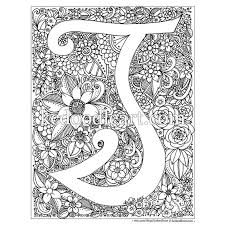 Small Picture instant digital download adult coloring page letter T