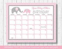 Details About Pink Chevron Elephant Printable Baby Due Date Calendar Editable Pdf
