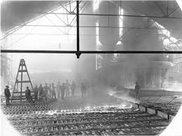 steel mill 1900. 1-4: the old method of casting iron at mabel blast furnace in steel mill 1900 l