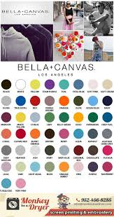Bella T Shirts Color Chart Bella Canvas Swatch Color Chart Custom T Shirts From