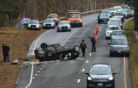 state police investigate a serious rollover crash on the merritt parkway in norwalk wednesday