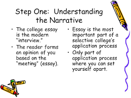 the personal narrative college entrance personal statement essay step one understanding the narrative the college essay is the modern interview the reader