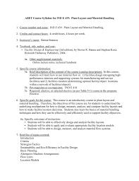 Plant Layout Design Course Abet Course Syllabus For Ind E 439 Plant Layout 1
