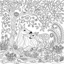 Small Picture Deer Fantasy Forest Coloring Page Digital Art by Crista Forest