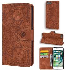 An efficient way to protect your apple iphone 6 series cell phone from everyday wear and tear, this leather apple phone case is also a simple method of customizing your smartphone with color and design choices that help make a unique fashion statement. Retro Embossing Mandala Flower Leather Wallet Case For Iphone 6s Plus 6 Plus 6p 5 5 Inch Brown Leather Case Guuds