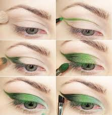 step by step makeup tutorial of green cat eye