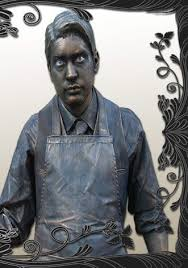 create a metallic living statue costume with well executed realistic patina