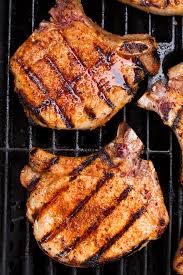 grilled pork chops cooking cly