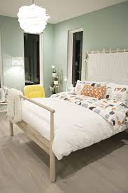 Light Wood And White Bedroom GjÖra Bed In Kids Bedroom With Green Walls And Orange