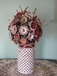 Paper Flower Bouquet In Vase Christmas Origami Arrangement Paper Flower Bouquet Painted Distressed Vase Christmas Bouquet Christmas Winter Decor