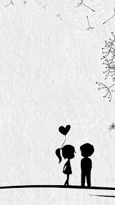 Cute Couples Black And White Illustrations Iphone Wallpaper