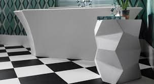 black and white flooring in a modern bathroom