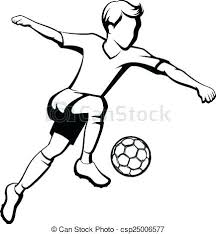 Soccer Or Footballs Boy Kicking Black And White Outline Of A