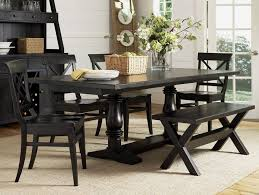 black dining table and bench
