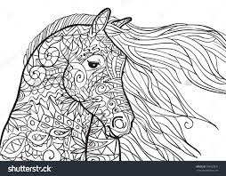 Hand Drawn Coloring Pages With Horses Head Illustration For