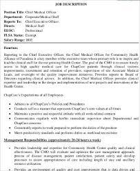 Clinical Officer Sample Resume Custom 48 Chief Medical Officer Job Description Samples Sample Templates