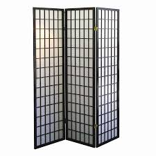 ORE International 3-Panel Black Fabric Folding Indoor Privacy Screen