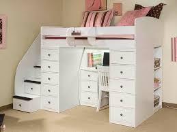 modern elegant bunk beds with desks under them