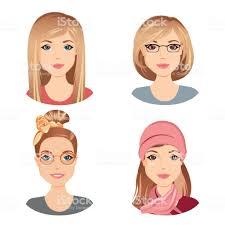 別の女性の髪型茶色の髪の若い大人中高齢者女性の イラストレーション