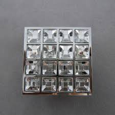 Square 16 Glass Diamond Furniture Kitchen Handles Knobs Cabinet Handle Door  Knob Chrome Finished Dressers Drawer Pulls-in Cabinet Pulls from Home ...