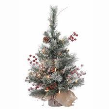 Vickerman 2 Snow Tip Pine Berry Artificial Christmas Tree Warm White Led Lights