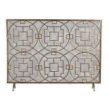 geometric single panel fireplace screen