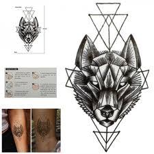 Waterproof Temporary Black Geometric Wolf Sticker Fake Tattoo Body Art