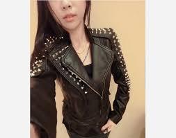 casaco feminino kim kardashian leather jacket spikes stars slim bi metal silver rivet metallic jacket pu