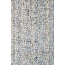 safavieh abstract 4 x 6 hand tufted wool rug in dark blue and rust