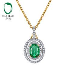 2019 0 85ct 5x7mm oval shape natural emerald 14k yellow gold diamond engagement pendant from prevalent 958 9 dhgate com