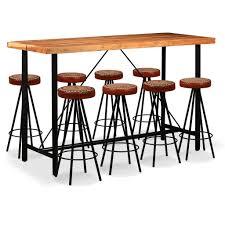 Bar Set 9 Tlg Massives Sheesham Holz Echtleder Und Canvas