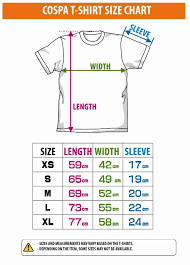 Regular Fit T Shirt Size Chart Size Chart Size Chart For Cospa T Shirt Size Chart
