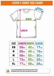 Size Chart Size Chart For Cospa T Shirt Size Chart