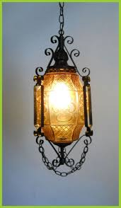 gothic lantern lighting. Victorian Lighting Company Marvelous Gothic Lantern Amber Art Glass And Wrought Iron Swag Hanging