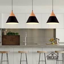modern wood pendant lights black aluminum mini led lighting kitchen island office hotel antique pendant