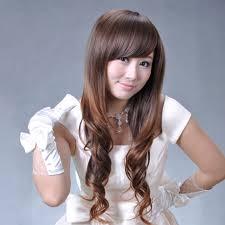 Wig Long Roll Girls Fluffy Oblique Bangs Long Repair Curls Hair On
