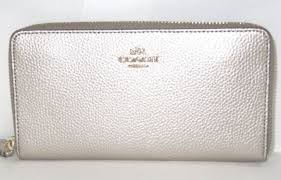 Coach Metallic Platinum Leather Accordion Zip Around Wallet F20145 New NWT   250