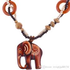 whole boho style ethnic handmade bead wood elephant pendant long necklace sweater chain women jewelry gift coin pendant necklace anchor pendant necklace