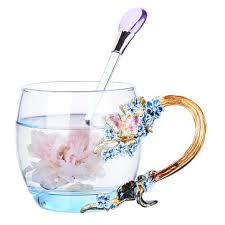 enamel flower <b>tea mug</b> exquisite plum <b>coffee cup</b> handmade crafts ...