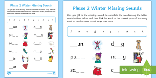 Phase 2 phonics resources arranged in sets to teach blending and segmenting using the first 19 letters. Phase 2 Winter Missing Sounds Worksheet Teacher Made