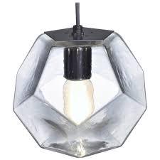 modern glass lighting. Modern Handmade Glass Lighting - Hedron Series Pendant In Clear, Customizable