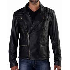 Quilted Shoulder Black Leather Motorcycle Jacket & Men's Quilted Shoulder Black Leather Motorcycle Jacket Adamdwight.com