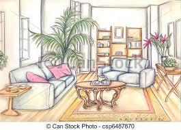 living room furniture clipart. stock illustration - living room furniture clipart