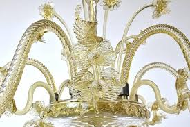 large 20th century venetian murano glass chandelier with six arms