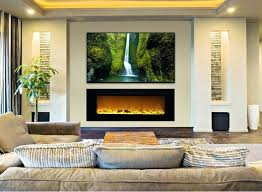 linear fireplace with tv above shocking the touchstones inch recessed electric interior design 39